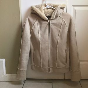 Mudd Shearling Faux Suede and Fur Hooded Jacket